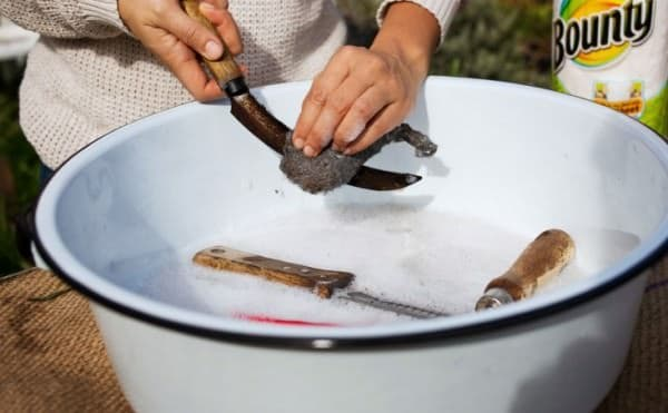 how to clean garden tools with baking soda 2