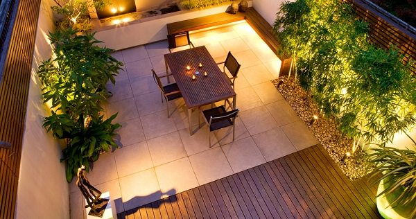 small roof terrace garden lighting