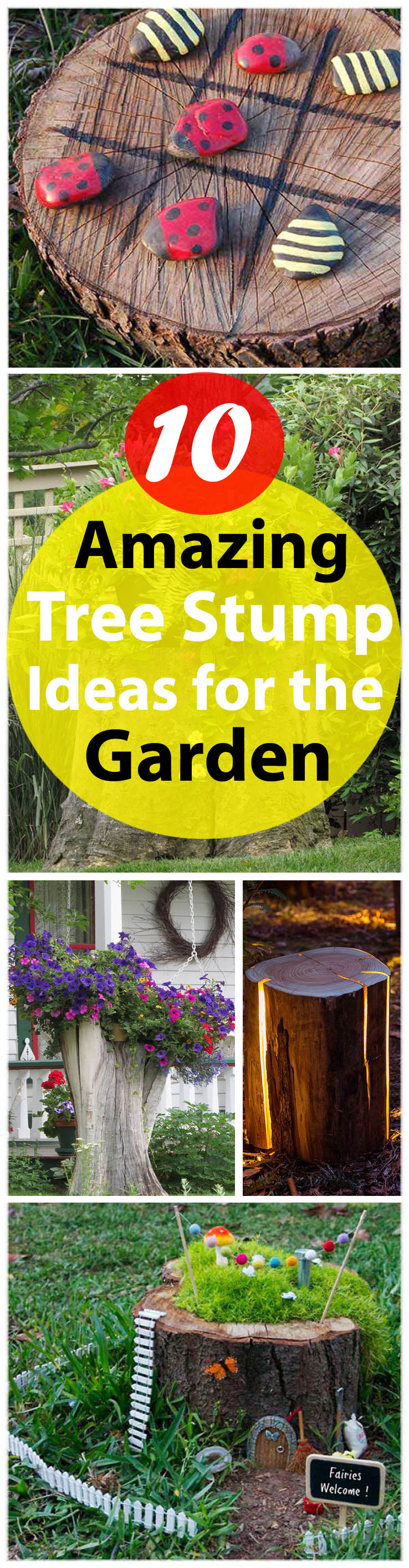tree stump ideeas for garden