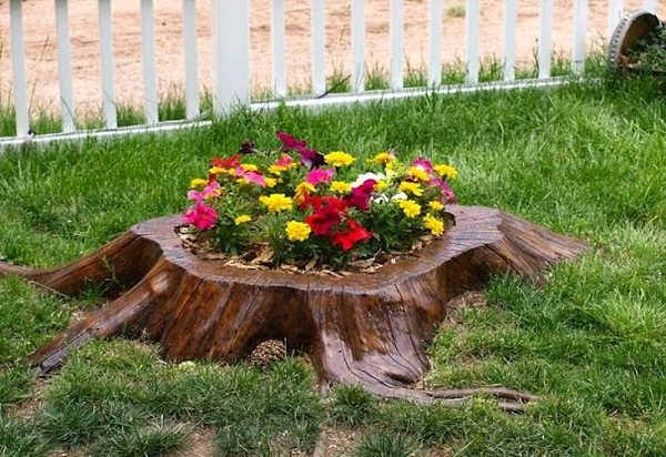 tree stump planter ideas (13)