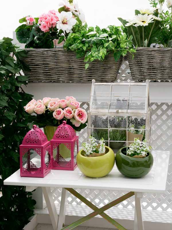 accesories on flower balcony garden