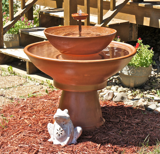 diy terracotta fountain
