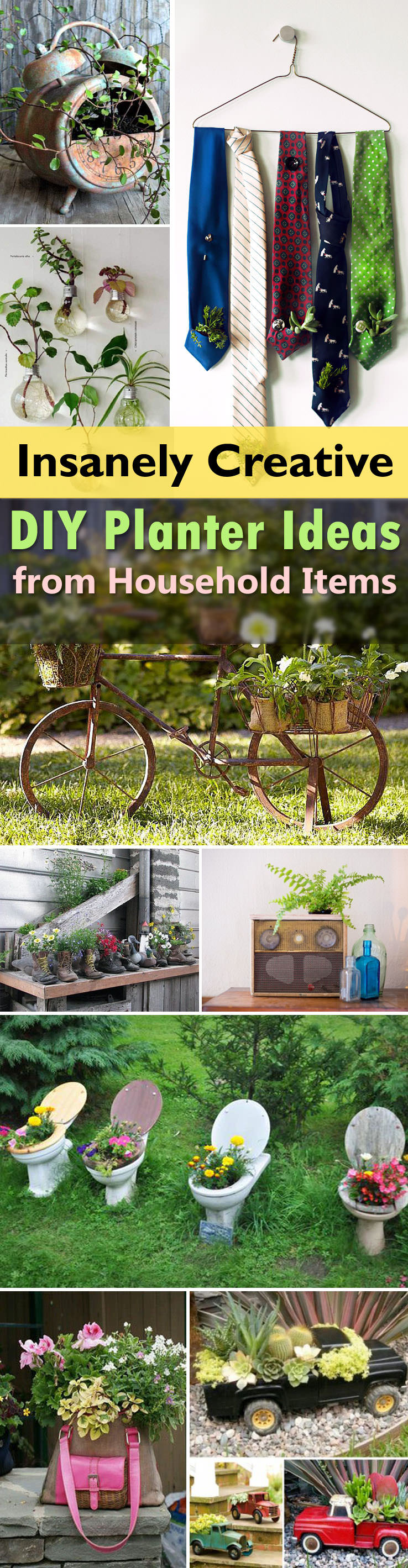 See these 29 insanely creative planter ideas that you can make from household items with their DIY tutorials.