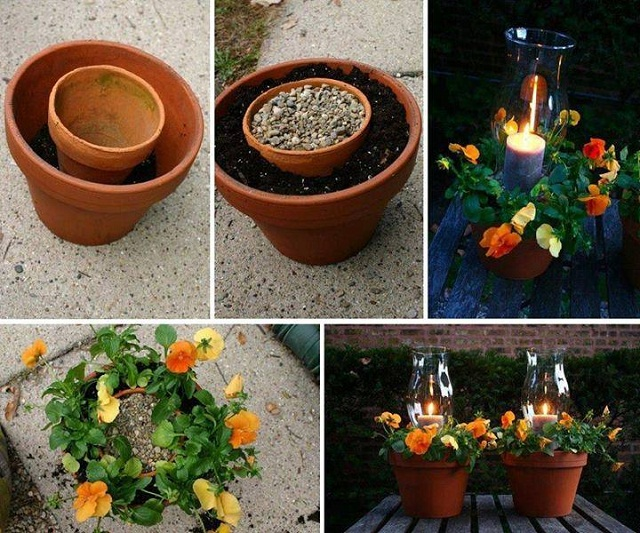 potted candle planter