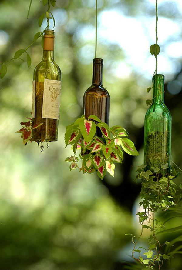 using wine bottles in the garden 21