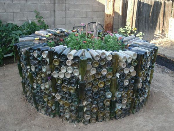 using wine bottles in the garden 3