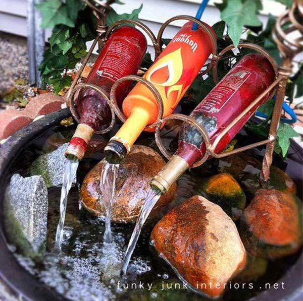 wine bottles in garden 5