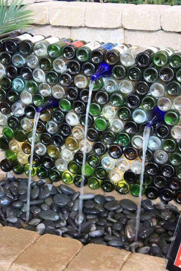 wine bottles in garden 7