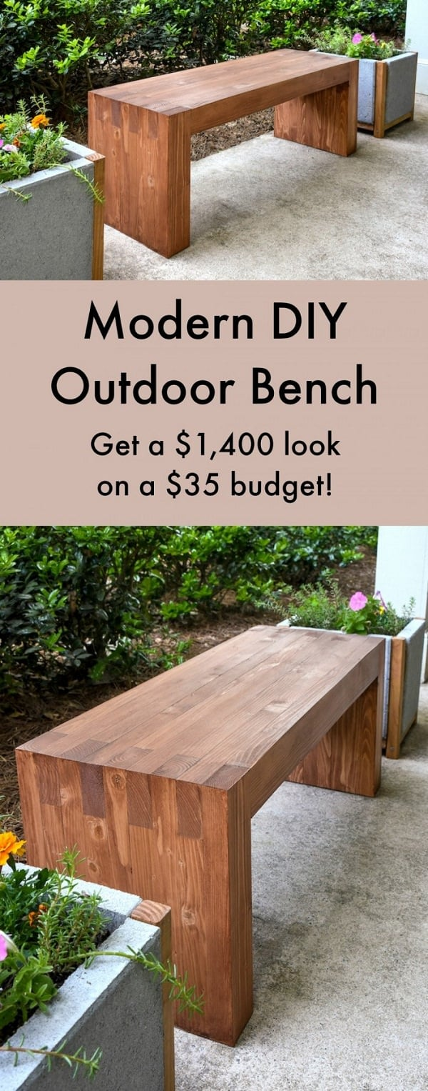 This Great Looking Modern Bench Can Be An Amazing Addition To Your Backyard Don T Miss The Step By Guide Available On Diy Candy