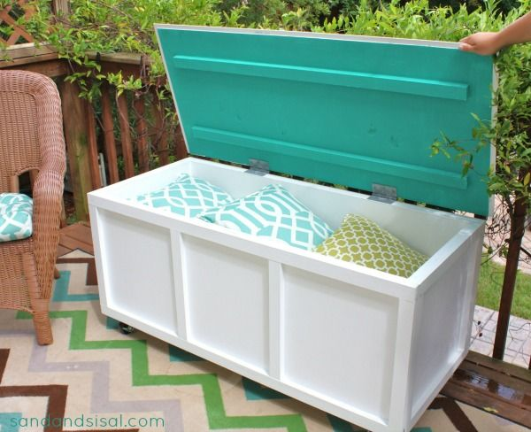 Make a DIY storage bench for your patio or terrace with the help of the  tutorial given on Sand and Sisal. - 20 Amazing DIY Garden Furniture Ideas DIY Patio & Outdoor
