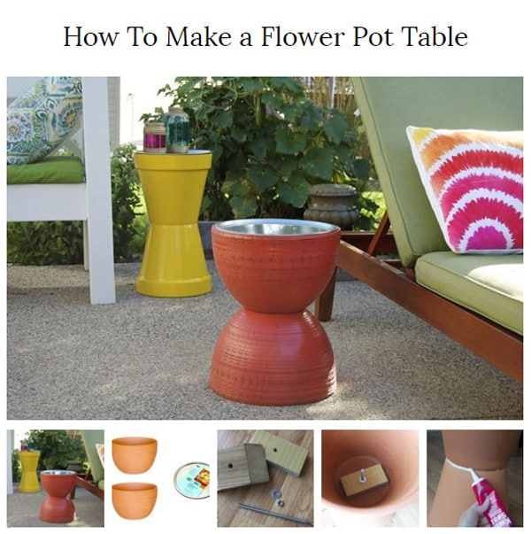 how to make a flower pot table diy idea 3