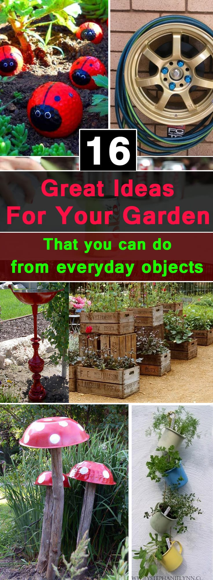 With these 16 frugal DIY ideas for garden, you can enhance the way your garden look like. Check out!