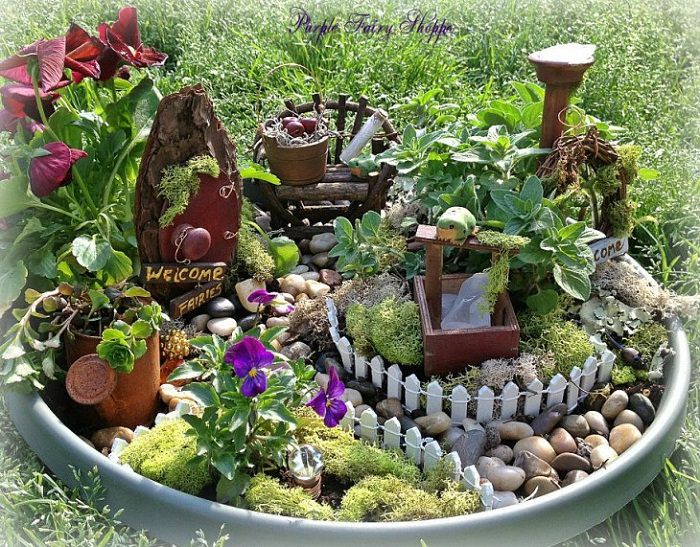 Mini fairy garden in a container