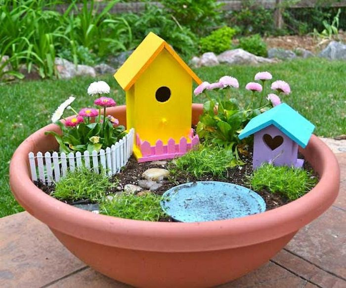 Fairy Garden with birdhouse