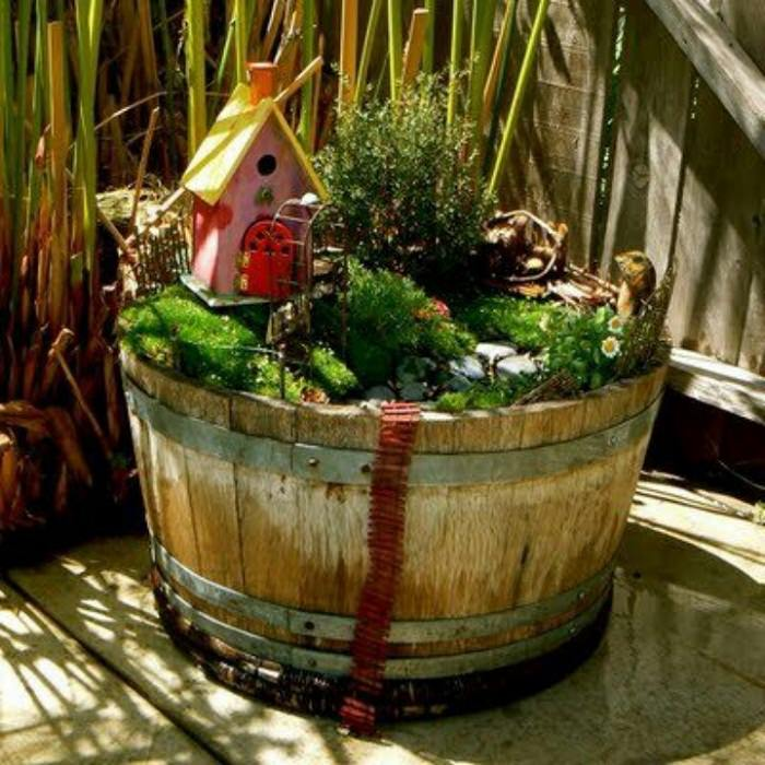Fairy Garden in a Barrel