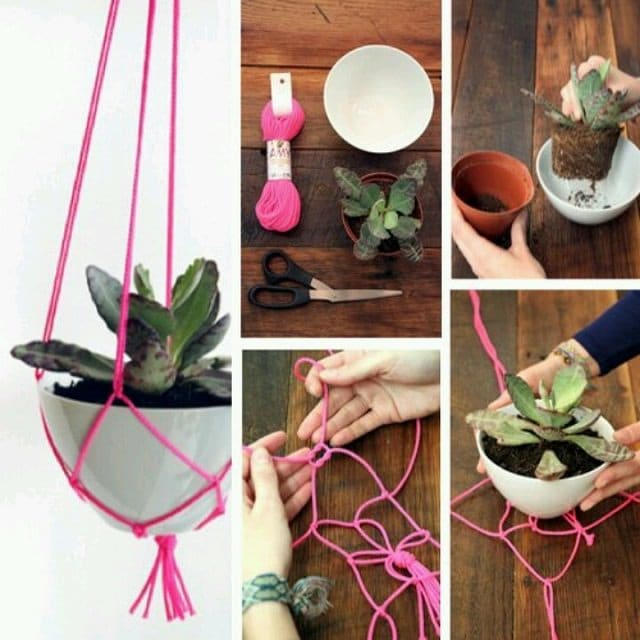 Knotted String Hanging Planter