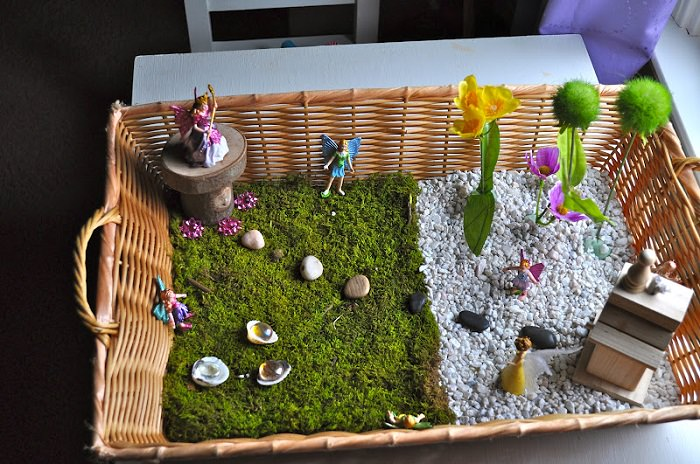 Fairy garden in a tray