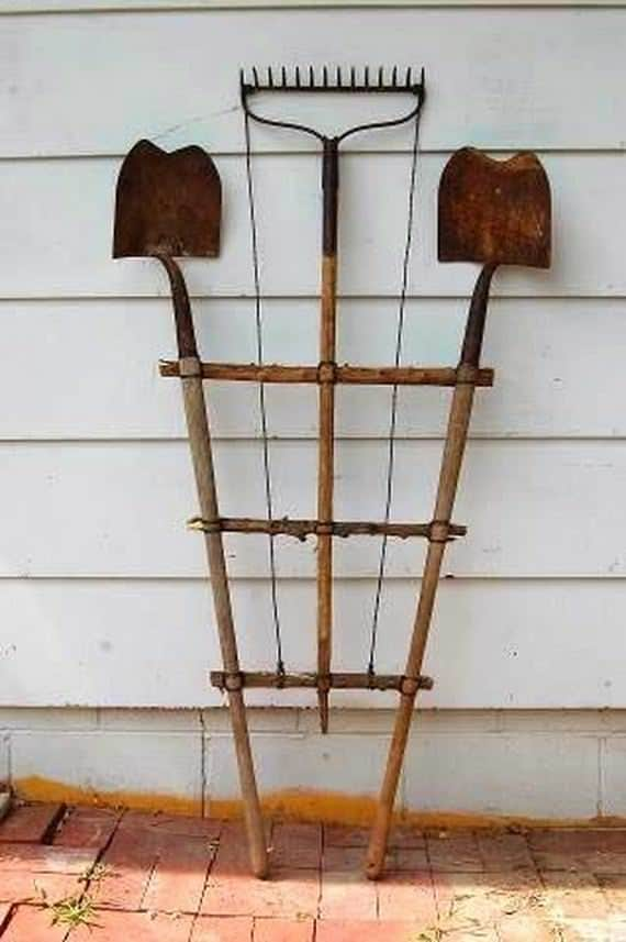 make-a-trellis-with-old-garden-tools