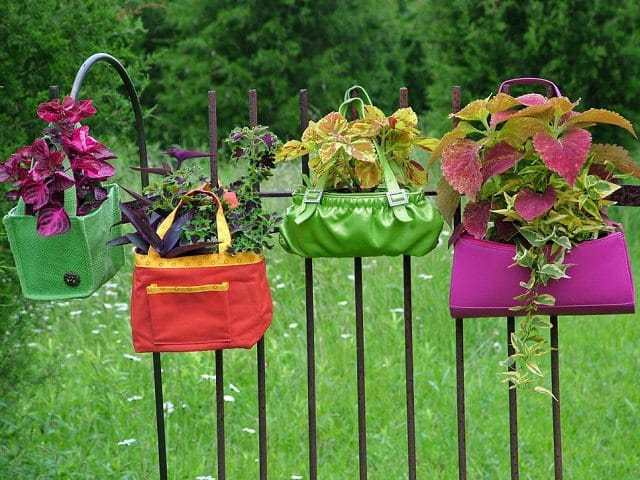 Colorful purses hanging garden
