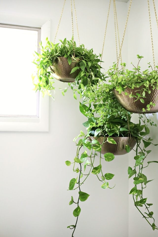 diy hanging planter out of metal bowls