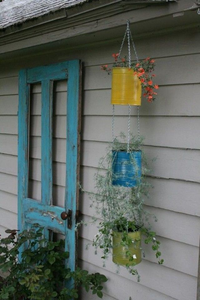 tin can hanging planter
