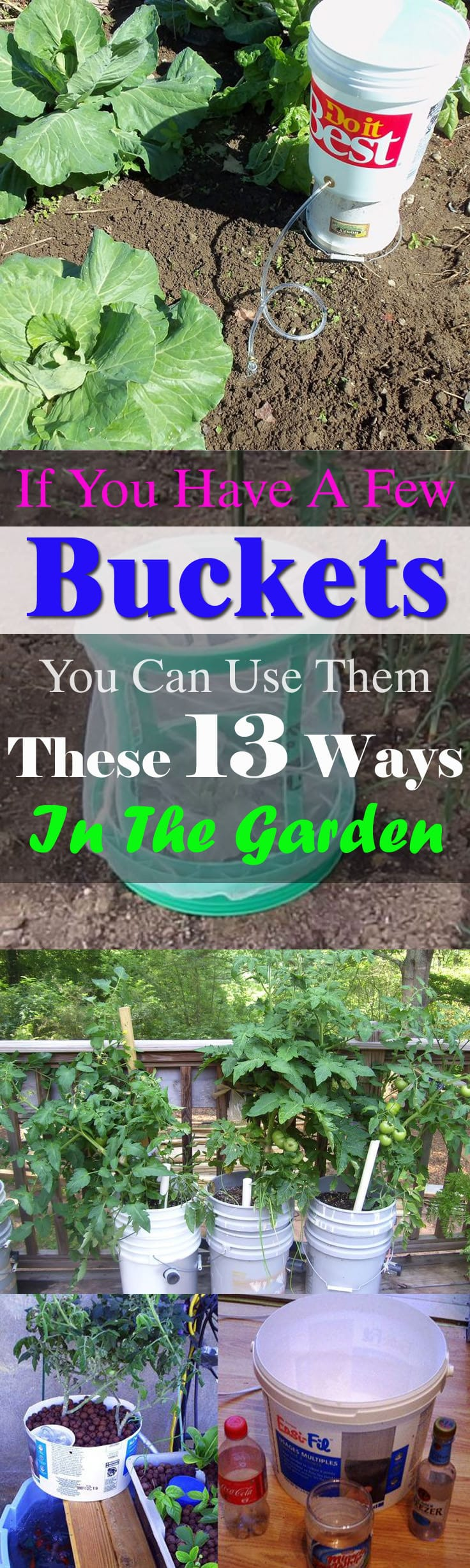 If you've got a few unused buckets in your home, there are 13 ways to reuse them in your garden!