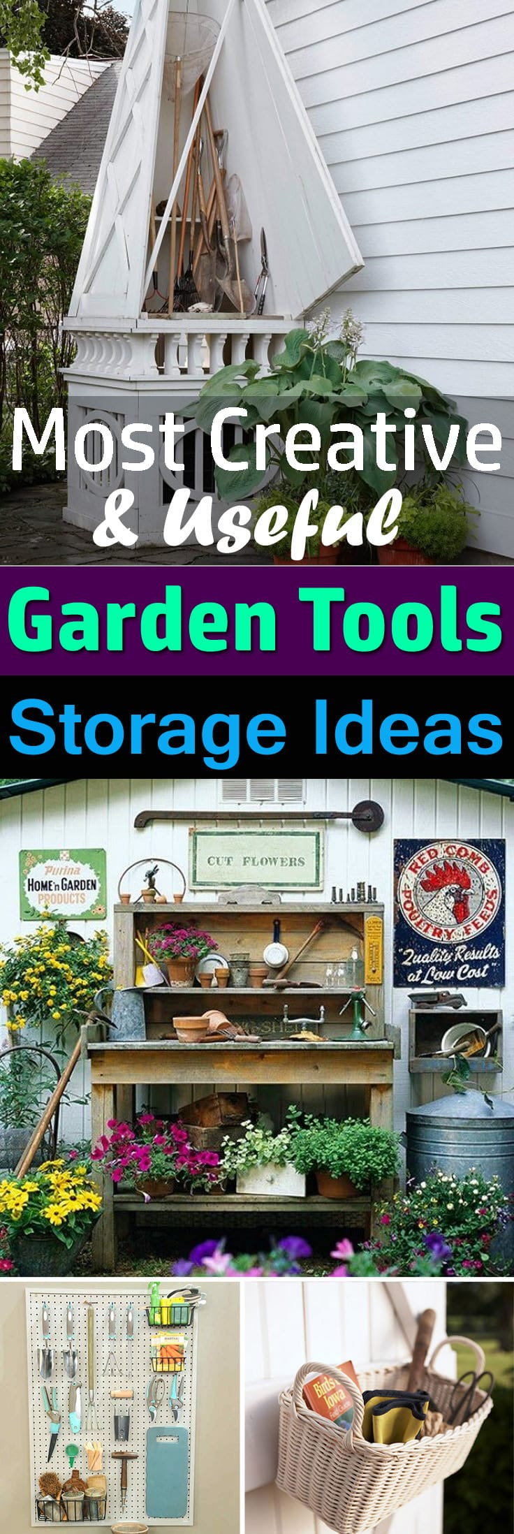 Save your time and money and stop finding the gardening tools you misplace by trying one of these clever DIY Garden Tool Storage Ideas!