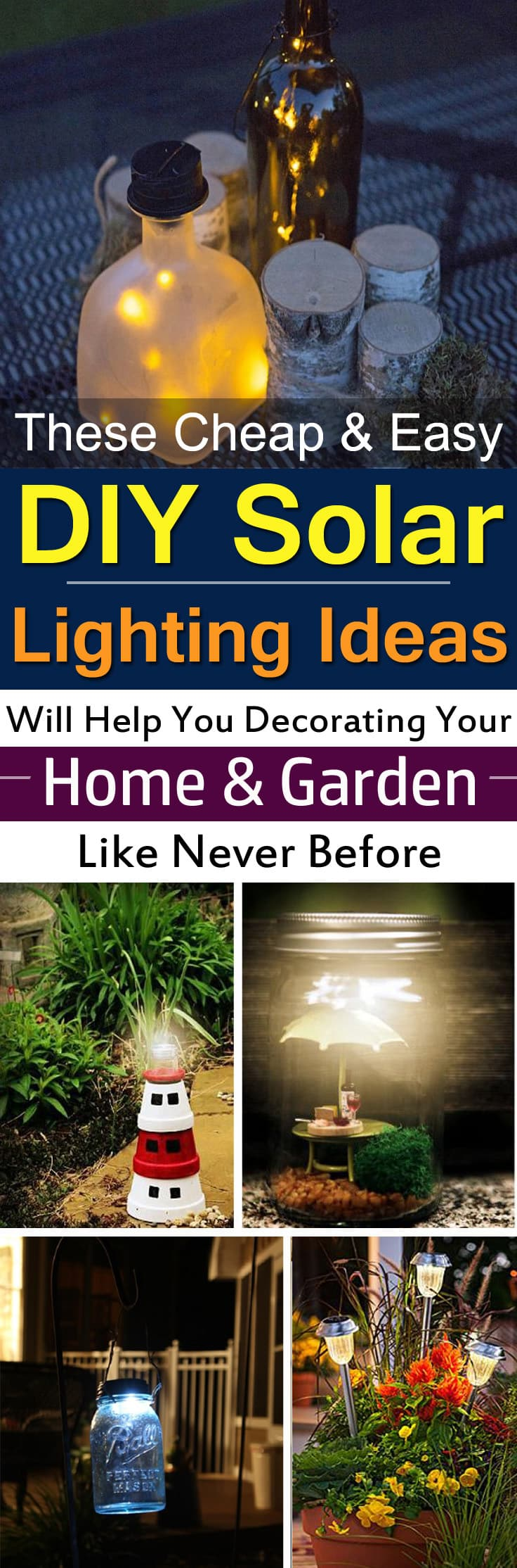 These DIY Solar Light Projects are inexpensive and easy to follow and can beautify your home and garden at night in no time.