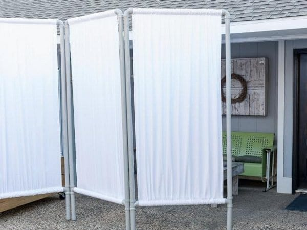 Freestanding Pvc Pipe And Curtain Privacy Screen