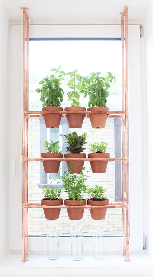 one of the best hanging herb garden ideas a diy copper rack is used to make this pot holder brilliant for small spaces - Hanging Herb Garden