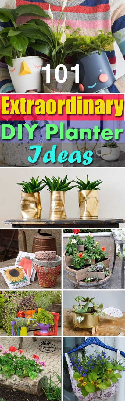 Beautiful planters accentuate the beauty of beautiful plants and here're the 100+ amazing DIY Planter Ideas for inspiration!