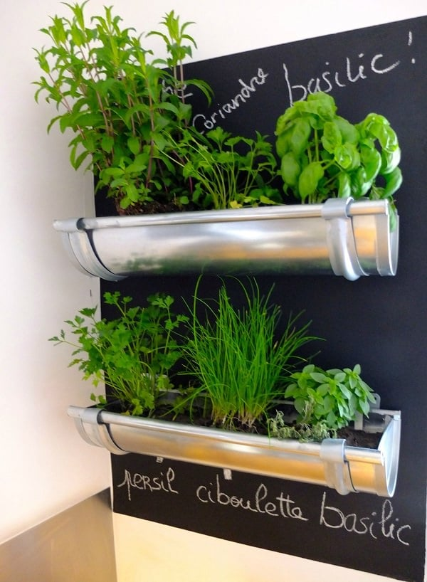 diy hanging herb garden from gutters - Hanging Herb Garden