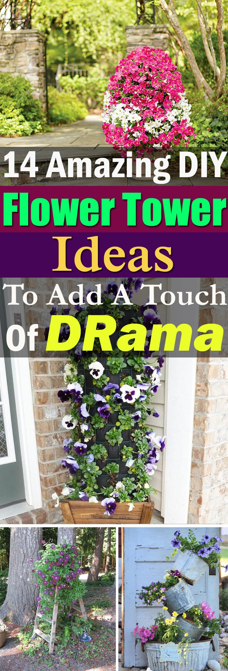 Even if you're not a limited space gardener, these DIY Flower Tower ideas are a perfect way to add a touch of drama to your home or garden!