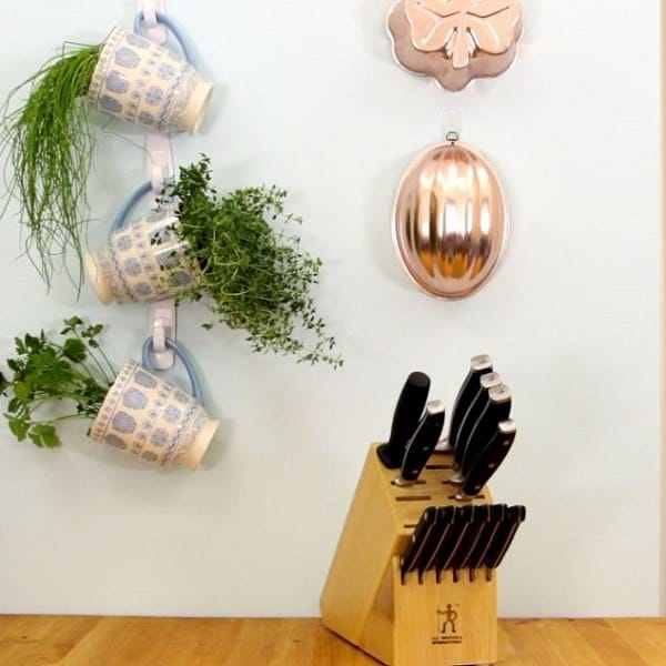 Growing Herbs In Your Kitchen If It Receives A Few Hours Of Sunlight Vertically By Making This Do Yourself Hanging Herb Garden Using Command Hooks