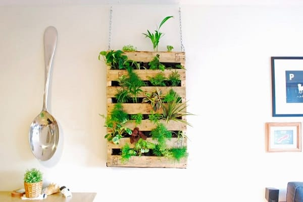 follow this pallet living wall tutorial to make a pallet herb garden for yourself that you can hang on the wall learn more here - Hanging Herb Garden