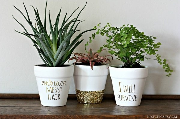 Gold Lettering Flower Pots & 100+ Exciting DIY Planter Ideas For Inspiration | Balcony Garden Web