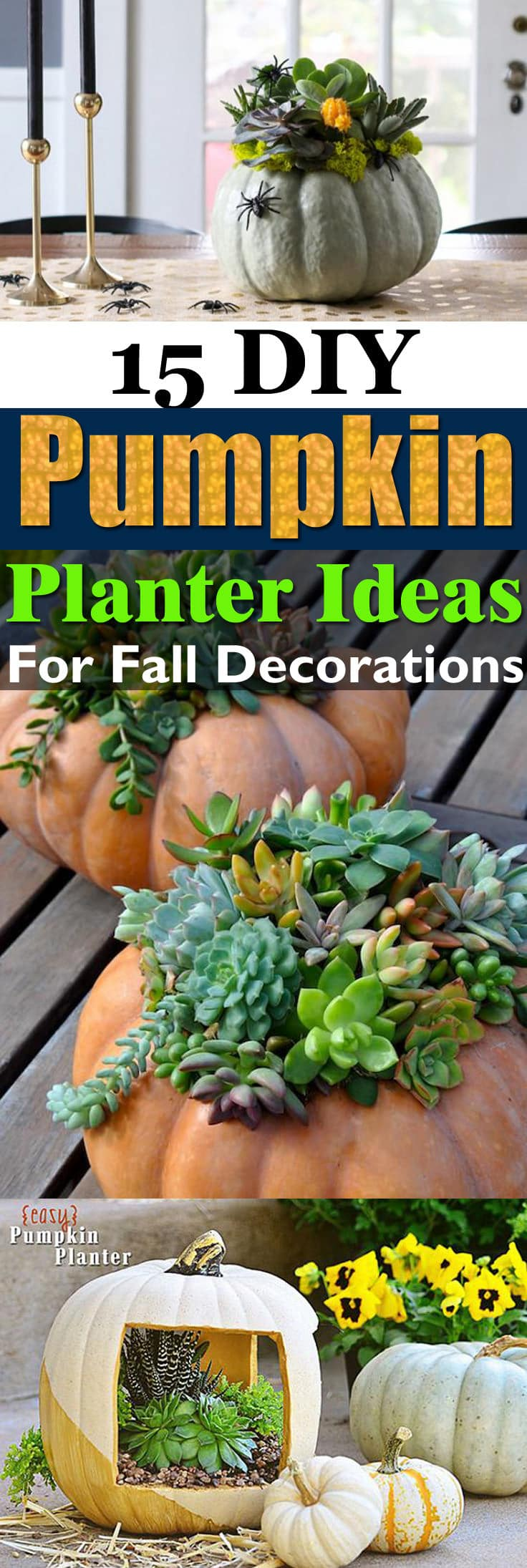 Carve pumpkins or else use the plastic ones for these 15 amazing DIY pumpkin planter ideas for fall decorations!