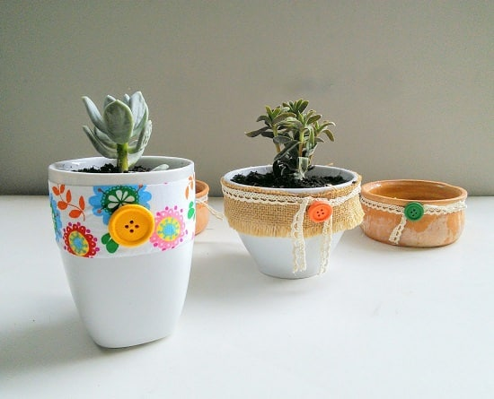 DIY Fabric Cup Succulent Planters