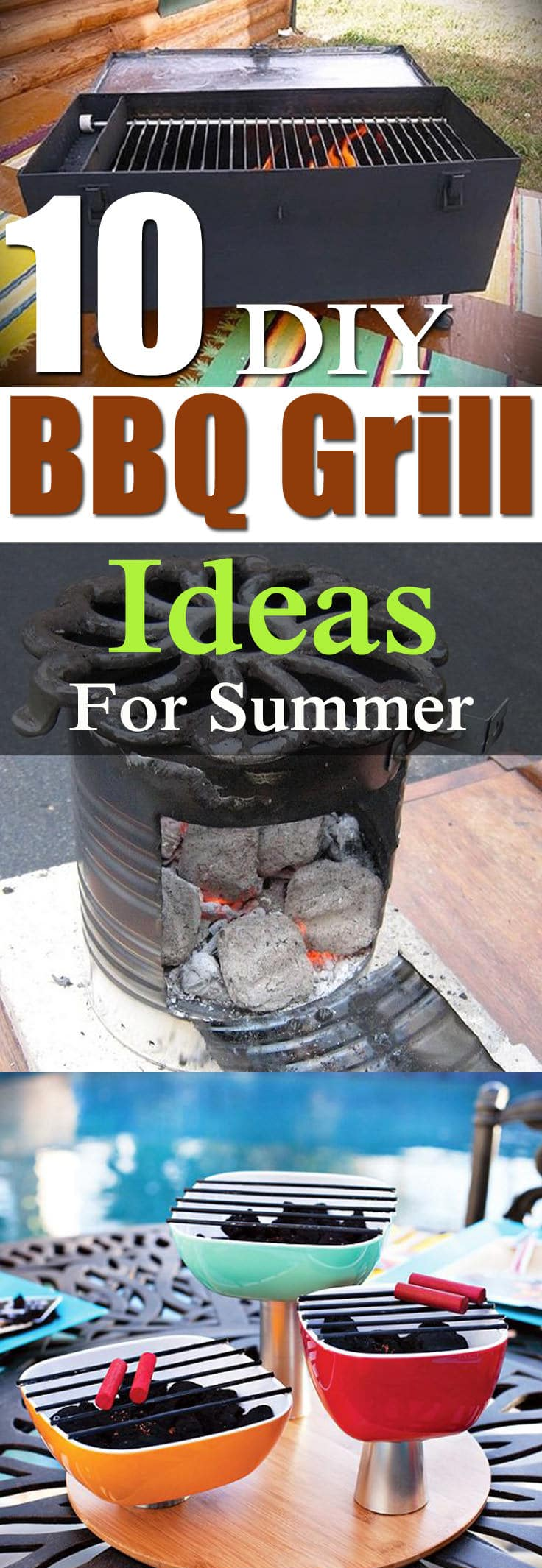 10 DIY BBQ Grill Ideas that are inexpensive and easy to follow for the summer, so that you can enjoy outdoor grilled recipes in your backyard or balcony!