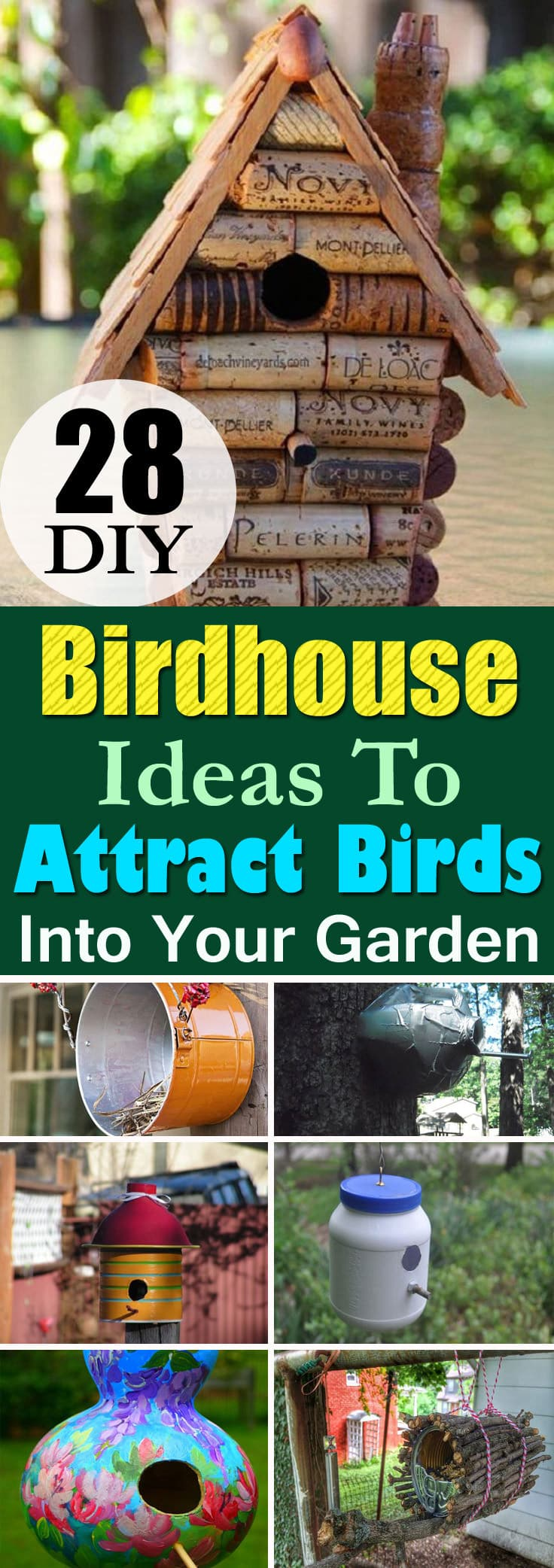 Attract birds in your garden or apartment balcony by providing them shelter. Here're the 28 Best DIY Birdhouse Ideas with tutorials!