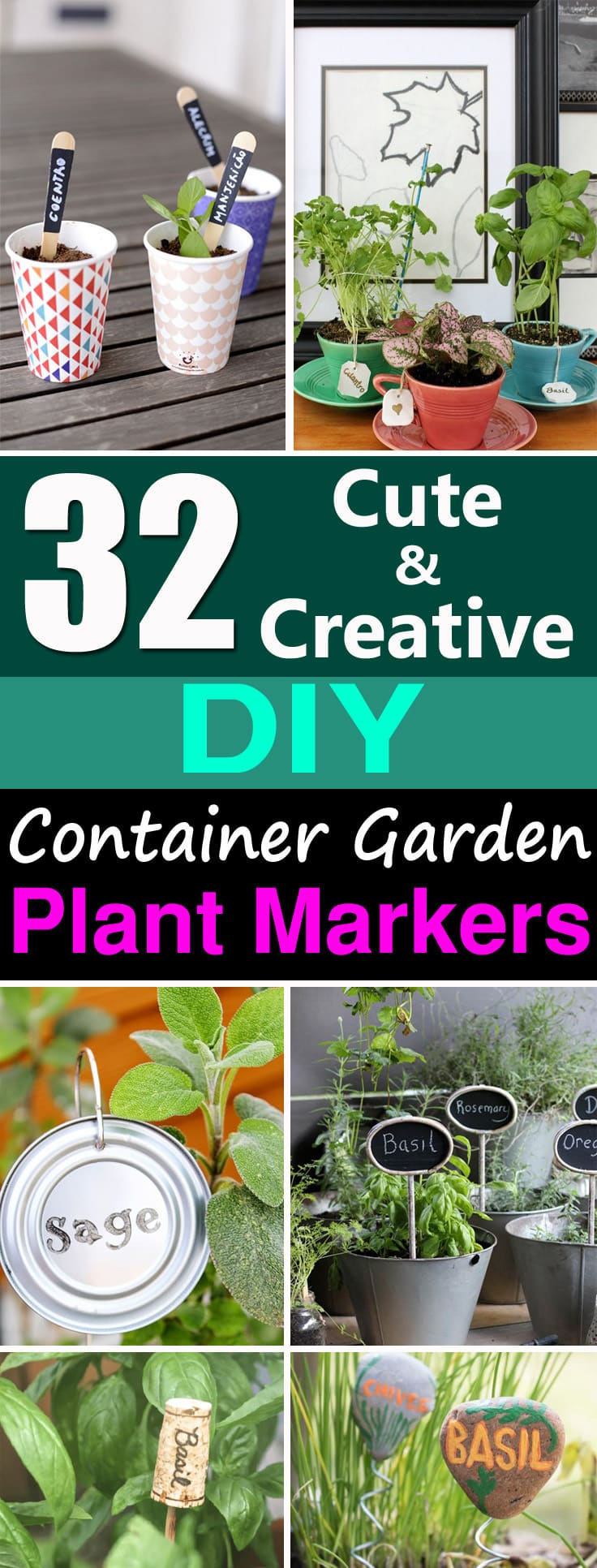Learn how to create GardenMarkers for your container garden, choose from this extensive list of 32 DIY Plant Marker Ideas!