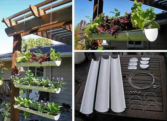 Vertical DIY Rain Gutter Garden Ideas