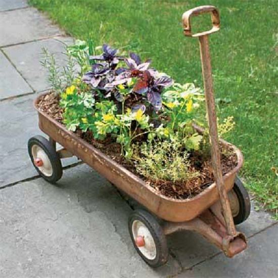 upcycled Herb Planter Wagon