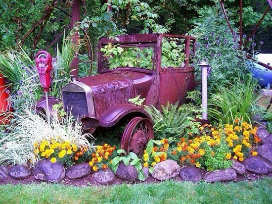 Old Car Garden Art