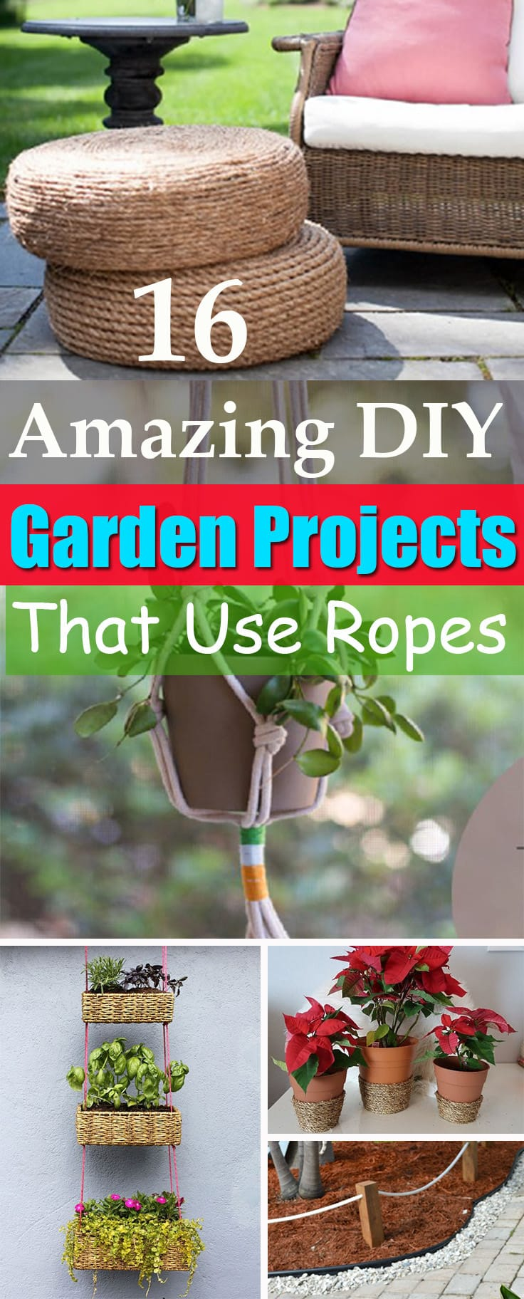 16 DIY Rope Projects and Ideas related to gardening that are interesting and super easy to complete!