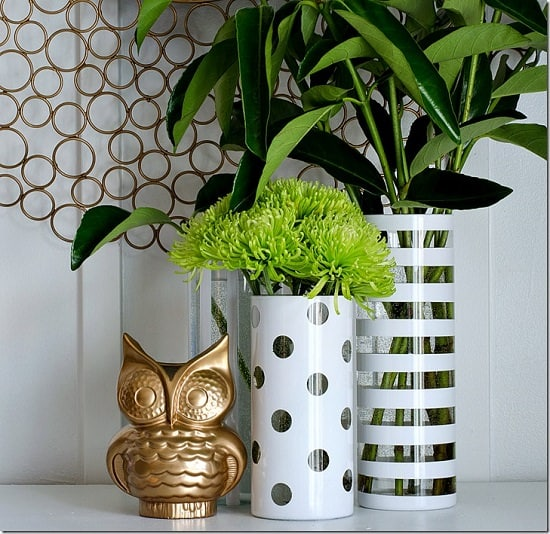 02f162bffd With some washi tapes and round stickers, you can easily imitate the DIY  project above. Spray paint the vases after applying the tape and once the  paint is ...