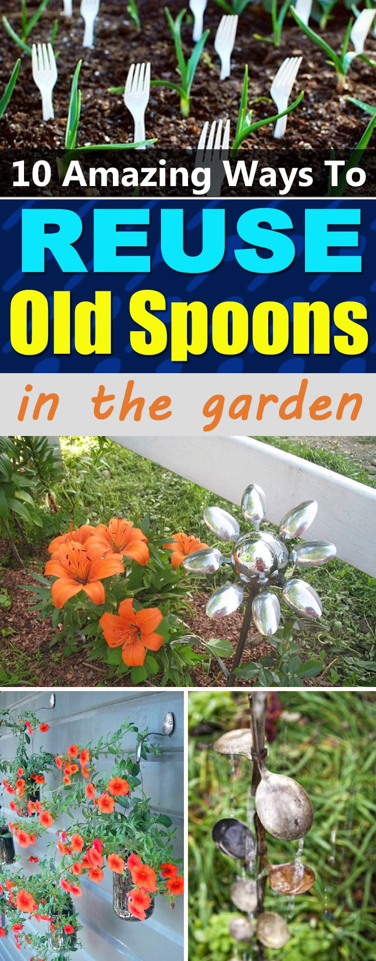 Reuse old spoons and forks in the garden following our 10 DIY Spoon Crafts and Ideas available with the tutorials!