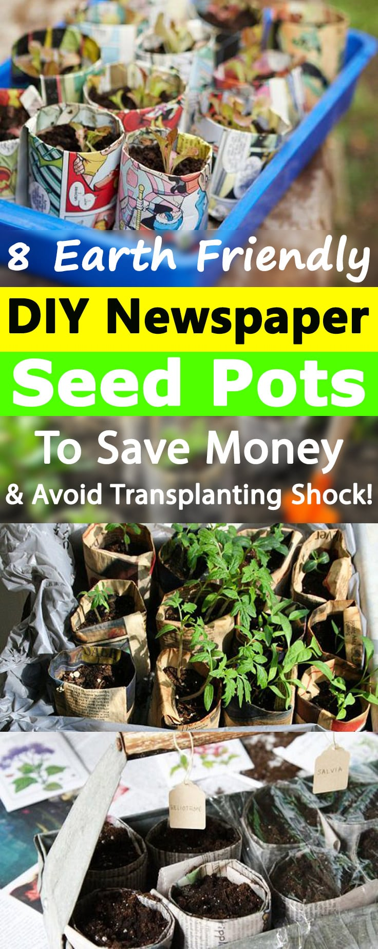 Save money, stop transplanting shock, and go earth-friendly way by creating these free, biodegradable, soil-friendly DIY Newspaper Pots!