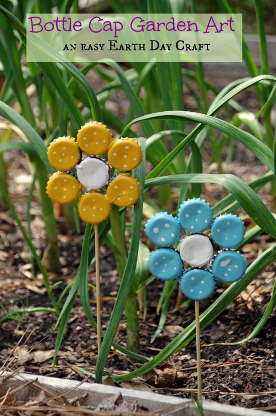 Bottle Cap Garden Art Flower