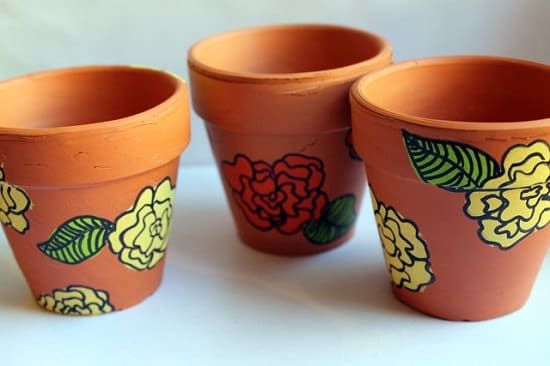 Flower Painted Flower Pots
